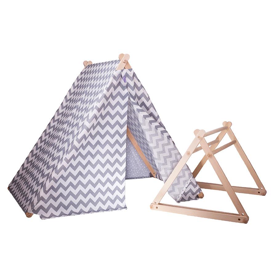 Палатка – гимнастика Happy Babies 2 в 1 – сив цвят