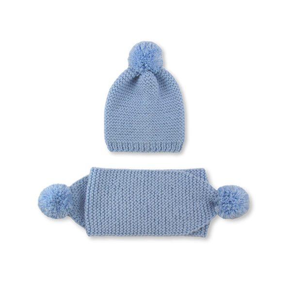 Шапка и шал Snow heat бледо синьо